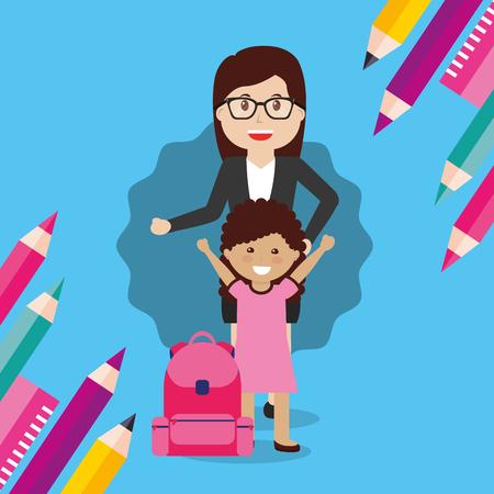 school teacher woman and little girl student with rucksack vector illustration Illustration