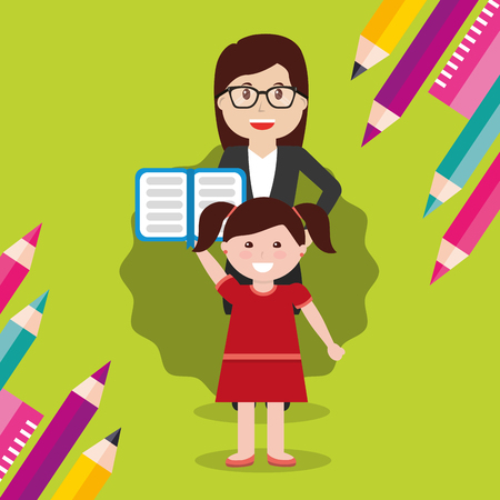 school teacher woman and little girl student with open book vector illustration