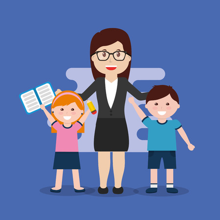 teacher and happy pupils with book vector illustration Фото со стока