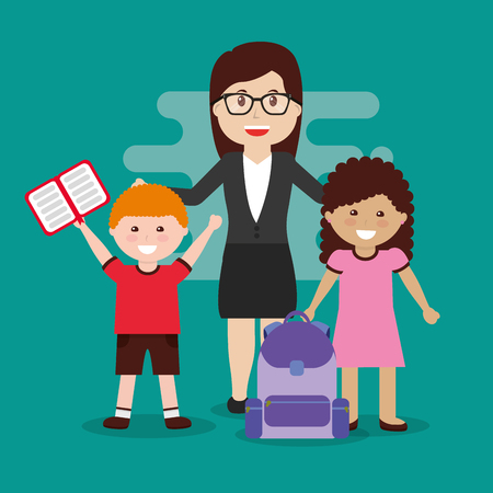 teacher and happy pupils and backpack book vector illustration Illustration