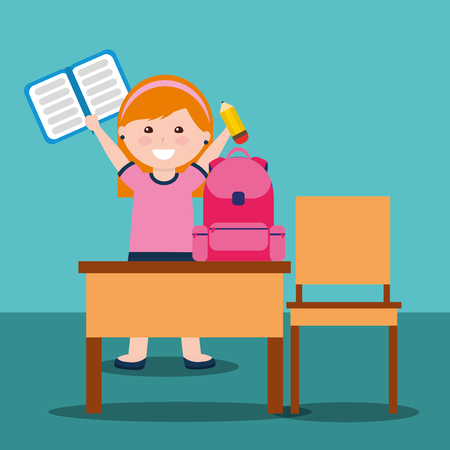 little girl holding book and pencil rucksack student and school desk chair vector illustration