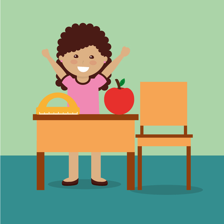 little girl student with apple and protractor and desk chair vector illustration Illustration