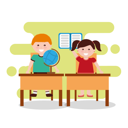 children class notebook globe map and desks chairs vector illustration