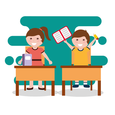 childrens class notebook and desks chairs vector illustration Иллюстрация