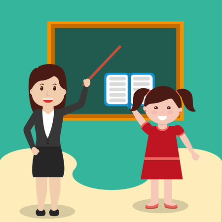 school teacher and little girl studying class vector illustration Иллюстрация