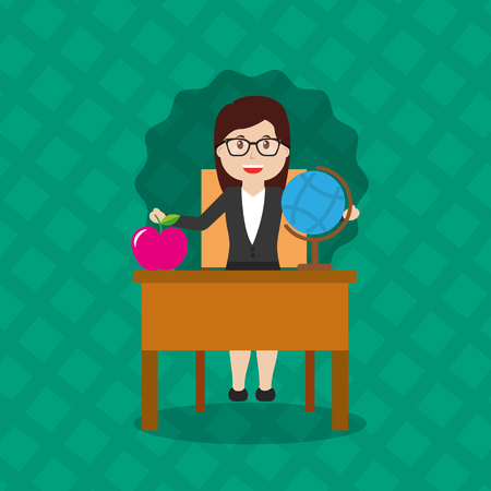 woman teacher sitting school desk with globe map and apple vector illustration