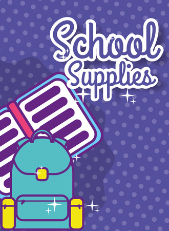 back to school supply backpack and open book vector illustration Standard-Bild - 100019419