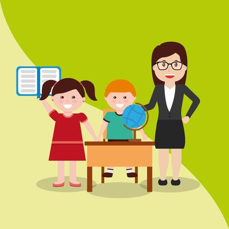 teacher and happy pupils globe map textbook and desk vector illustration Banco de Imagens