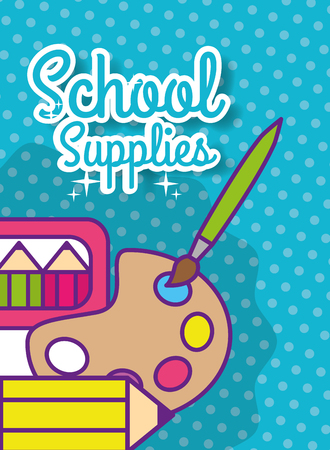 back to school supply palette color paintbrush pencil vector illustration