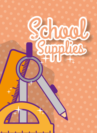 back to school supply ruler compass protractor vector illustration Standard-Bild - 100019430