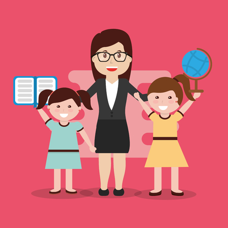 teacher and happy pupils girls book and globe map vector illustration