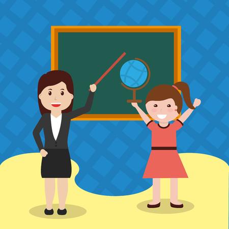 school teacher treaching student girl globe map chalkboard vector illustration Stock Photo
