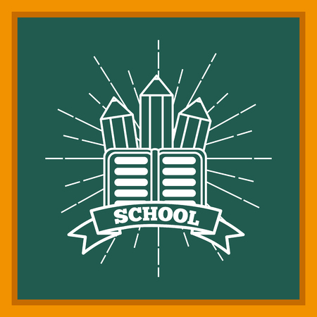 back to school supplies textbook and pencils on chalkboard sunburst image vector illustration