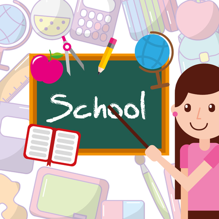 little girl student pointing chalkboard with book pencil map and apple vector illustration
