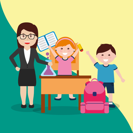 teacher and happy pupils with backpack textbook test tube vector illustration 写真素材
