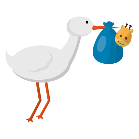 cute stork flying with giraffe baby vector illustration design