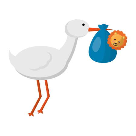 cute stork flying with lion baby vector illustration design