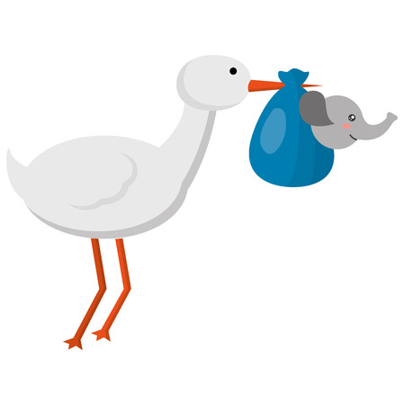 cute stork flying with elephant baby vector illustration design