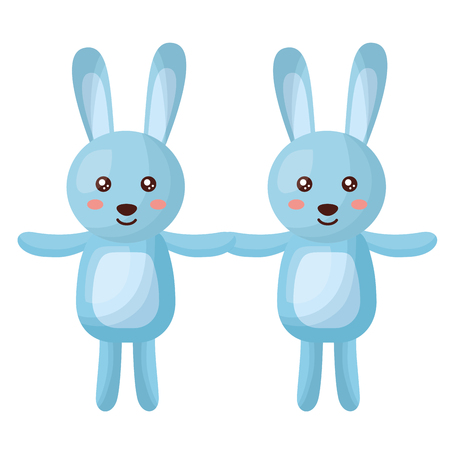 cute rabbits couple characters icon vector illustration design