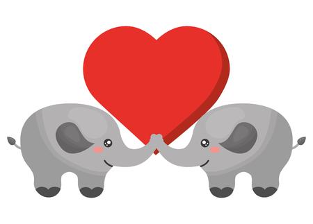 cute elephants couple characters vector illustration design 向量圖像
