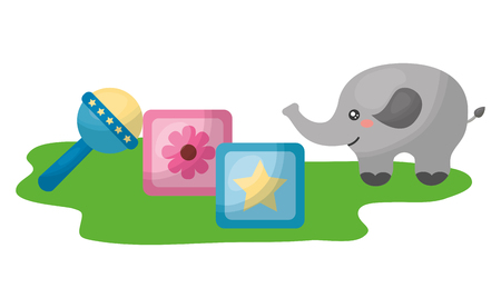 cute elephant with blocks and bell character vector illustration design Illustration