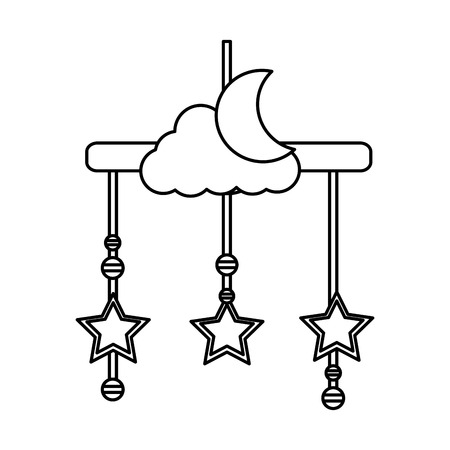 baby mobile with moon and stars hanging icon vector illustration design
