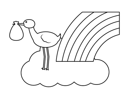 cute stork flying with cloud and rainbow vector illustration design Stock Illustratie