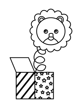 cute lion with surprise box character icon vector illustration design