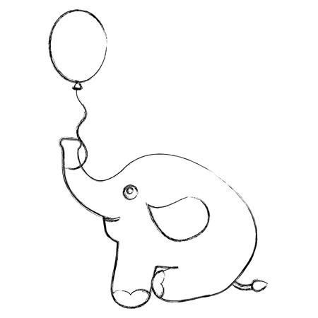 cute elephant with helium balloon icon vector illustration design