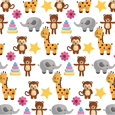 cutes animals wilds and toys for babys pattern vector illustration design