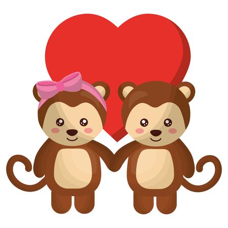 cute monkeys couple characters vector illustration design