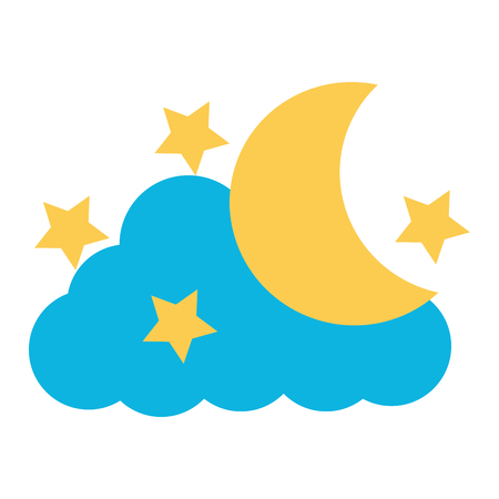 cute moon with cloud and stars vector illustration design