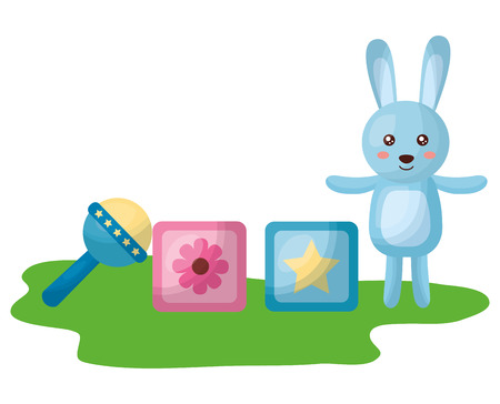 cute rabbit with blocks and bell character icon vector illustration design