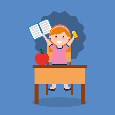 little girl studying notebook and apple in school desk vector illustration