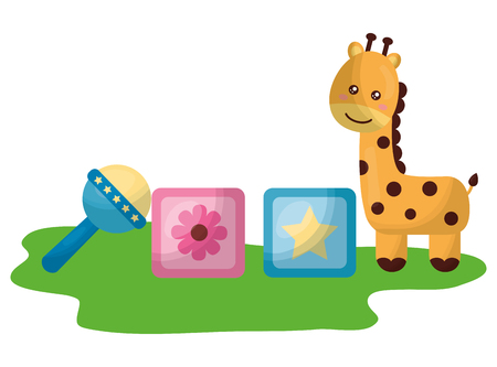 cute giraffe with blocks and bell character icon vector illustration design Ilustração