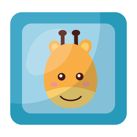 cute giraffe face in button character icon vector illustration design