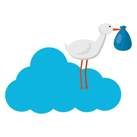 cute stork flying with sack in cloud vector illustration design Standard-Bild - 100062807