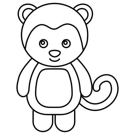 cute monkey character icon vector illustration design