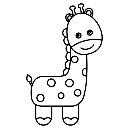 cute giraffe character icon vector illustration design Illustration