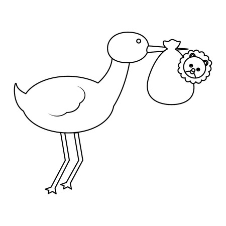 Cigogne mignonne volant avec le lion bébé concept illustration vectorielle Banque d'images - 100025915