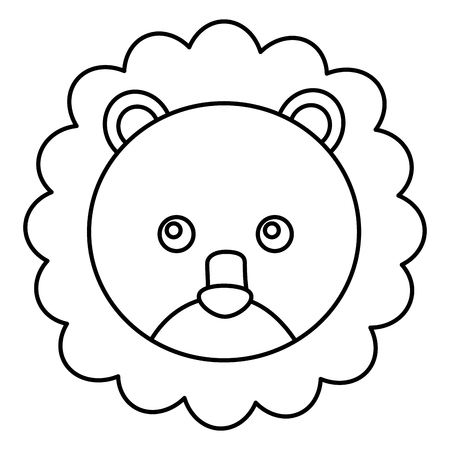 cute lion head character icon vector illustration design