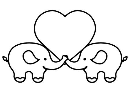 cute elephants couple characters vector illustration design Illustration