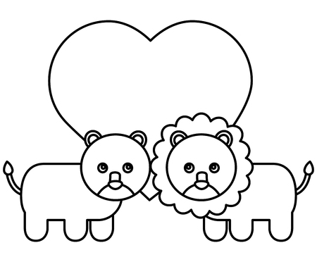 cute lions couple characters icon vector illustration design
