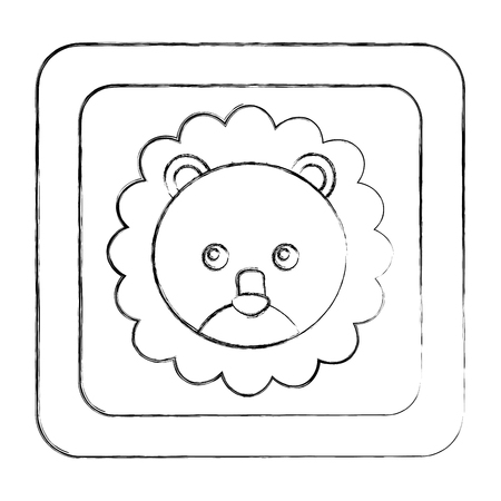 cute lion face in button character icon vector illustration design