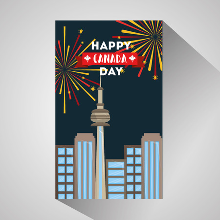 happy canada day city toronto architecture and fireworks vector illustration