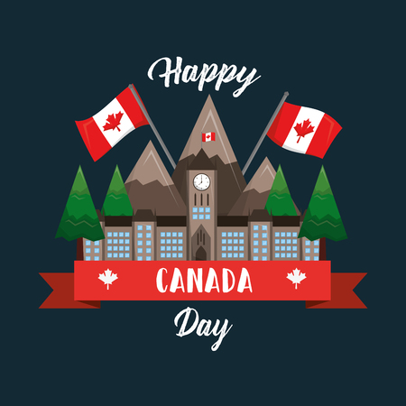 happy canada day ottawa parliament mountaind flag national vector illustration