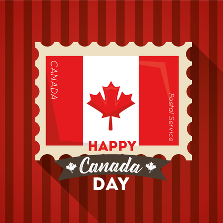 happy canada day postage stamp flag canadian vector illustration