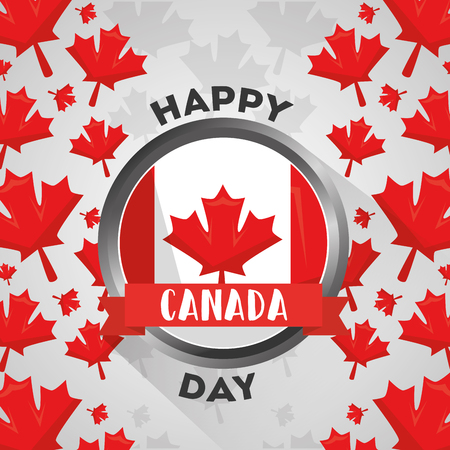 happy canada day button with flag national vector illustration