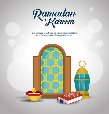 Ramadan Kareem card with set icons vector illustration design.