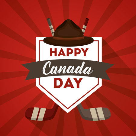 happy canada day label hat hockey sticks red background vector illustration
